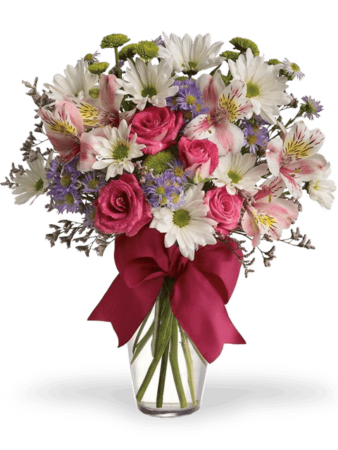 Bouquet di alstromeria rose e margherite