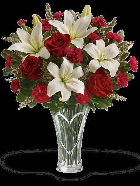 Bouquet di rose garofani e lilium