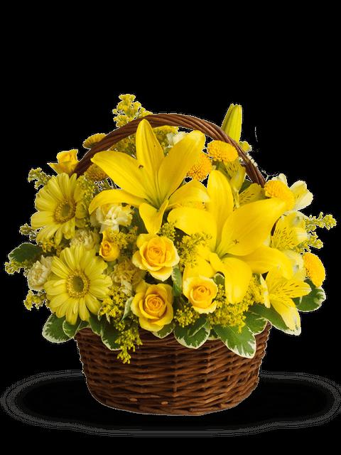 Cesto di rose e fiori misti gialli