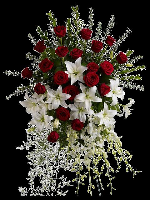 Cuscino funebre di rose rosse e gigli bianchi