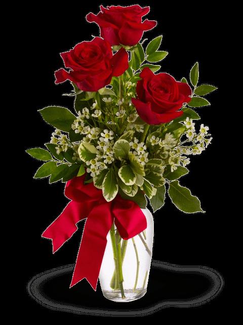 Fascio di tre rose rosse