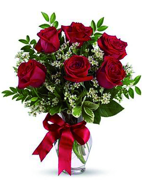 Bouquet di 6 rose rosse