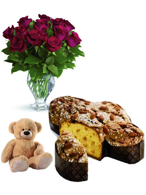Bouquet di 12 rose con colomba e peluche