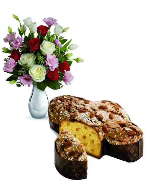 Bouquet di rose miste con colomba