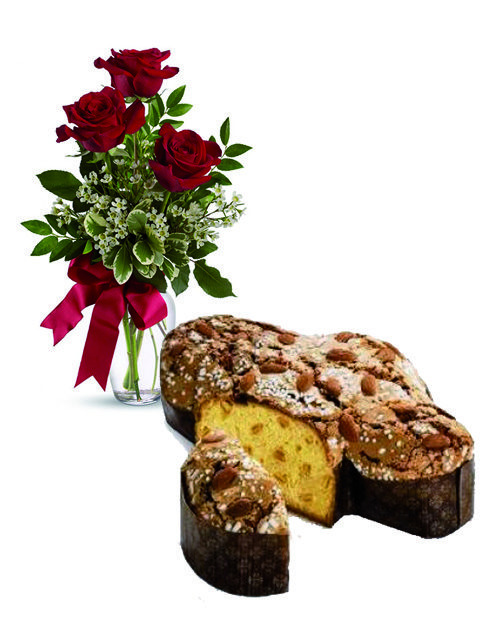 Tre rose rosse con colomba