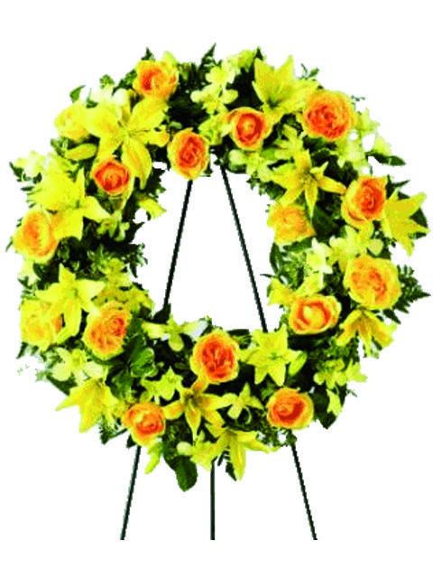 Corona di rose e gigli color giallo