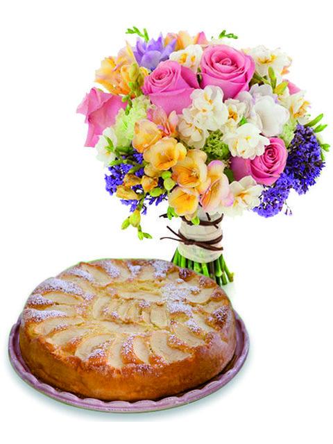 bouquet fiori misti e torta