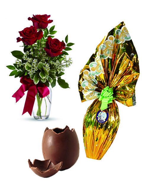 Bouquet di tre rose rosse e uovo