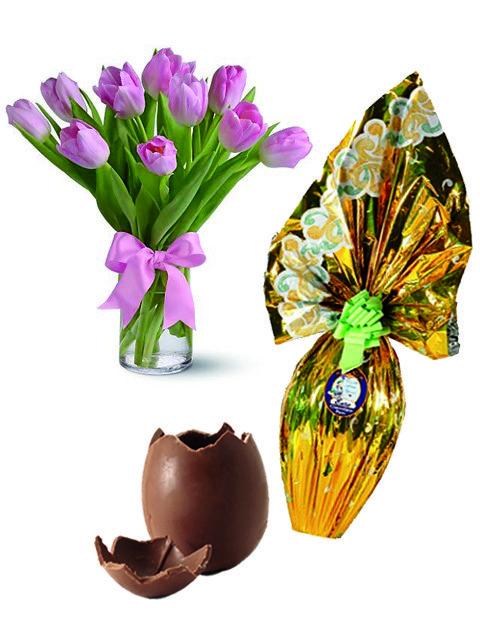 Tulipani con uovo di pasqua